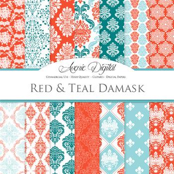 Red and Teal Green Damask Digital Paper patterns ornate scrapbook backgrounds