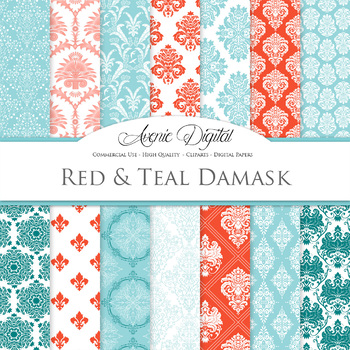 28 Red and Teal Green Damask Digital Paper patterns ornate scrapbook backgrounds