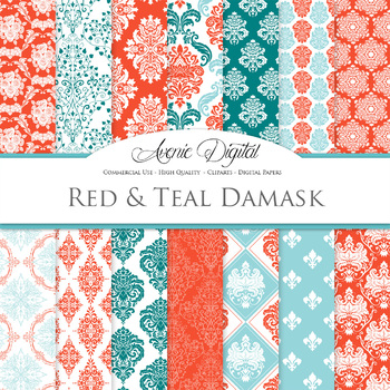 Red and Teal Green Damask Digital Paper patterns ornate sc