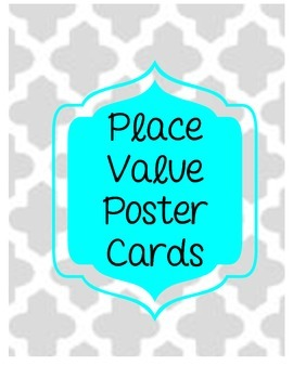 Red and Teal Place Value Poster Cards