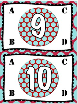 Red and Teal Table Numbers
