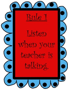 Red and Teal Theme Classroom Rules: Whole Brain Teaching