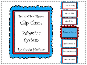 Red and Teal Theme Clip Behavior Chart System