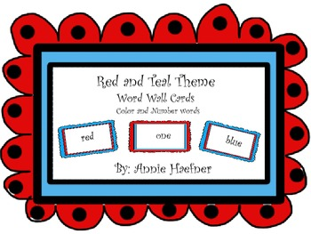 Red and Teal Theme Color and Number words