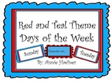 Red and Teal Theme Days of the Week