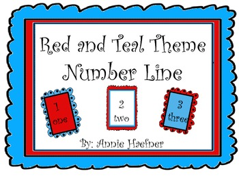 Red and Teal Theme Number Line