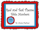 Red and Teal Theme Table Numbers