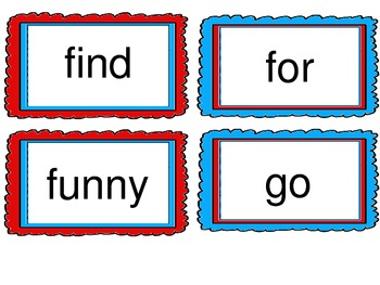 Red and Teal Theme Word Cards- Dolch Word List Pre-Primer to First