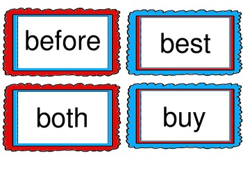 Red and Teal Theme Word Wall Cards- Dolch Word List 2nd to 3rd