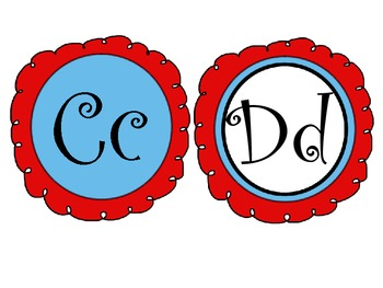Red and Teal Theme Word Wall Letters- Fancy Font