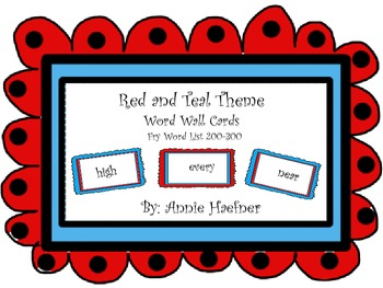 Red and Theme Theme word wall cards- Fry List 200-300
