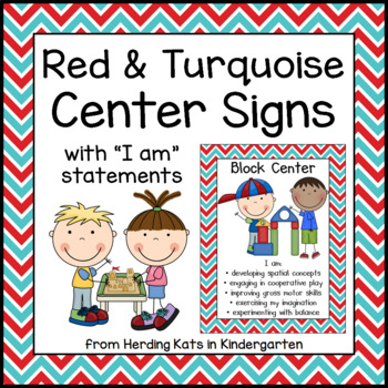 Red and Turquoise Center Signs