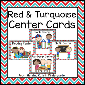 Red and Turquoise Pocket Chart Center Cards