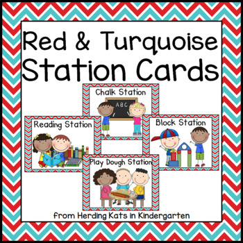 Red and Turquoise Pocket Chart Station Cards