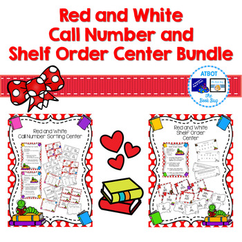 Red and White Call Number and Shelf Order Center Bundle