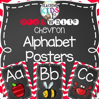 Red and White Chevron Alphabet Posters with pictures