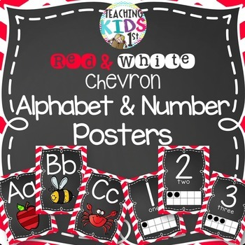 Red and White Chevron Alphabet and Number Posters Bundle