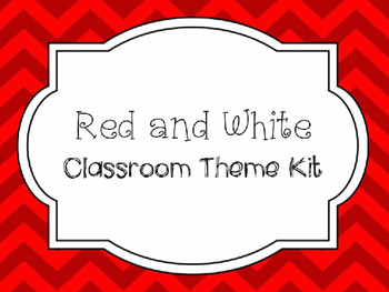Red and White Chevron Classroom Theme Kit