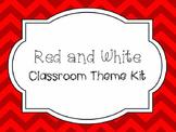 Red and White Chevron Classroom Theme Kit