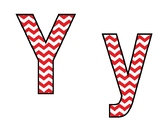 Red and White Chevron Printable Bulletin Board Letters