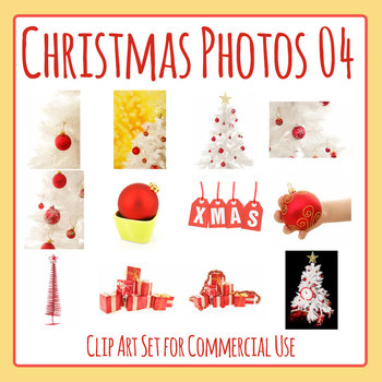 Red and White Christmas Decorations / Baubles Photos / Photograph Clip Art