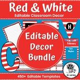 Red and White Classroom Decor   Editable Bulletin Board Decor   Red Stripe