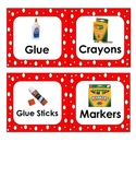 Red and White Classroom Items Labels