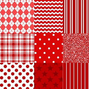 Red and White Designs Digital Paper