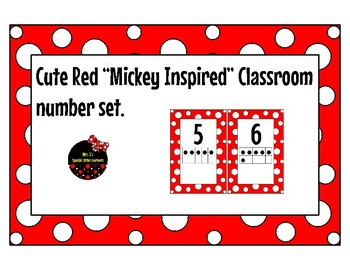 "Red and White ""Mickey Inspired"" classroom number posters"