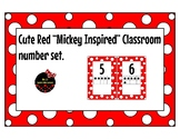 """Red and White """"Mickey Inspired"""" classroom number posters"""