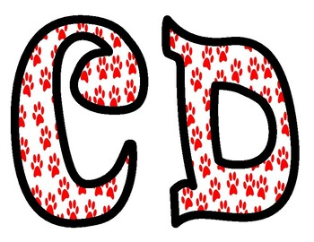 Red and White Paw Print Alphabet Bulletin Board Letters