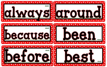 Red and White Polka Dot Dolch Word Wall Cards Pre-Primer - 3 ~ Editable