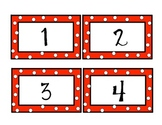 Red and White Polka Dot Number Cards