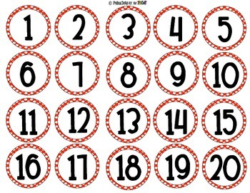 Red and White Polka Dot Numbers