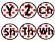 Red and White Polka Dot Word Wall Alphabet Circles