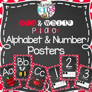 Red and White Polkadot Alphabet and Number Posters Bundle