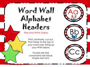 Red and White Striped Alphabet Headers for Word Wall