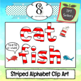 Red and White Striped Alphabet and Number Clip Art