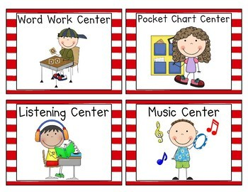 Red and White Striped Pocket Chart  Center Cards