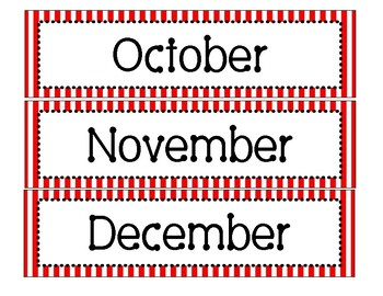 Red and White Stripes Calendar Months
