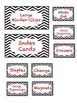 Red and White Teacher toolbox labels