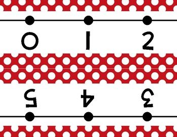 Red and White dots Number Line Wall Display ~ -36 to 202