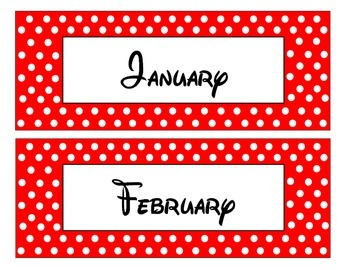 Red and White polka dot Pocket Chart Calendar Set