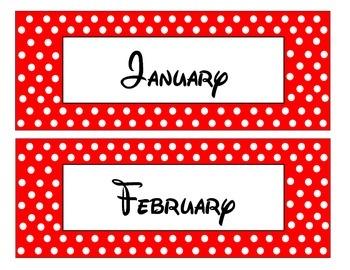 Red and White polka dot Pocket Chart Calendar Set