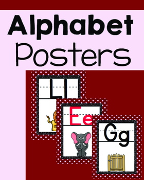 Red and White with Glitter ALPHABET POSTERS