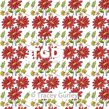 Red and Yellow Flowers Pattern on White digital paper Printable Tracey Gurley