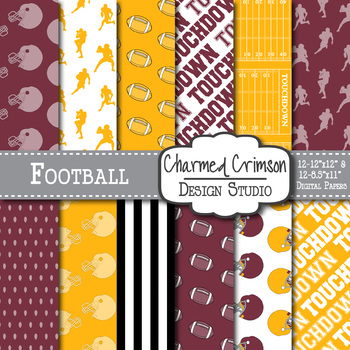 Red and Yellow Football Digital Paper 1432
