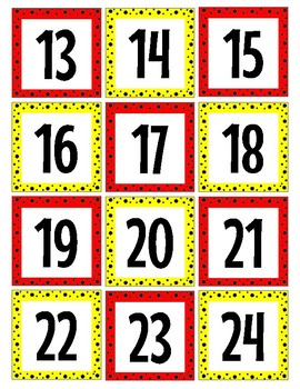 "Red and Yellow ""Mickey Inspired"" Calendar numbers"