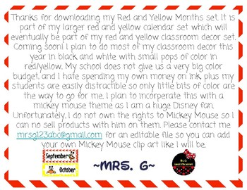 """Red and Yellow """"Mickey Inspired"""" Months"""
