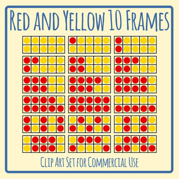 Red and Yellow Ten Frames / 10 Frame Math Clip Art Set Commercial Use